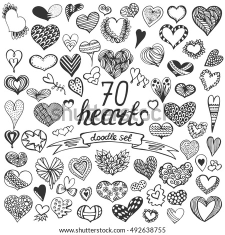 Hand drawn big collection of hearts. Doodle vector romantic set. Vintage elements for valentines day card, wedding, love theme.