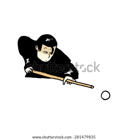 hand drawn billiard player - stock vector