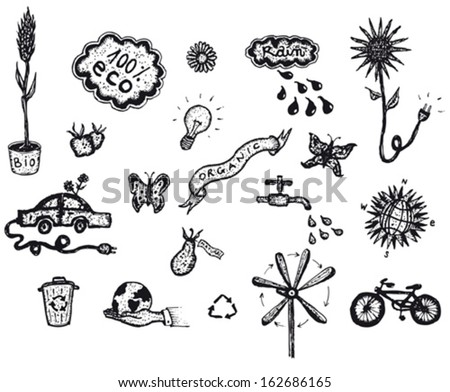 Hand Drawn Bio And Ecology Icons/ Illustration of a set of hand drawn spring or summer environment friendly and green ecological icons elements, including tools, plants and flowers - stock vector