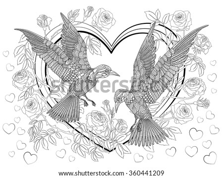 Hand drawn birds on the hearts in a branches of a blossoming roses-tree. Coloring page.
