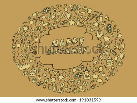 Hand Drawn Birthday Card - stock vector