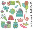 Hand drawn Birthday Celebration Design Elements - for Scrapbook, Invitation in vector - stock vector