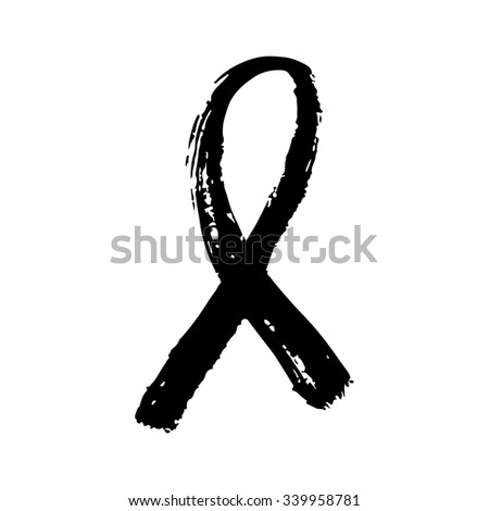 Hand drawn black AIDS ribbon on white background. Brush typography for poster or t-shirt. Vector illustration. - stock vector