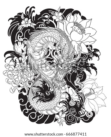 Hand drawn black and white dragon tattoo coloring book japanese style