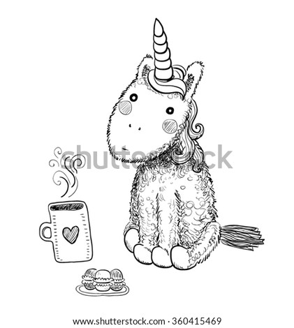 Hand drawn black and white isolated cartoon pretty unicorn with hot tea and macaroons - stock vector