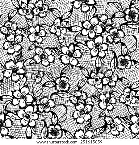 Hand Drawn Black and White Pattern with Flowers. Vector Seamless Texture. - stock vector