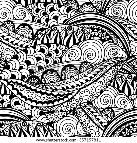 Hand-drawn black and white seamless pattern with abstract waves, circles and flowers. Doodles vector texture great for wrapping, printing and fabric paper and for adult coloring page - stock vector
