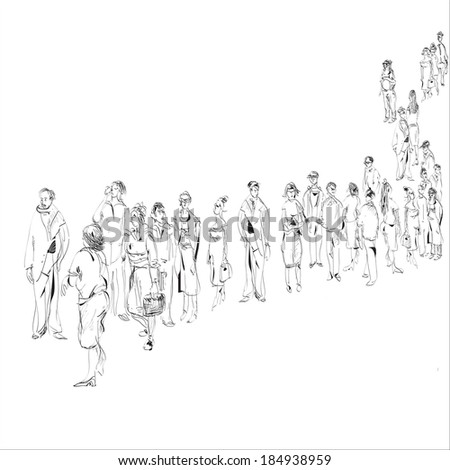 hand drawn black and white sketch in doodle style of people in queue - stock vector