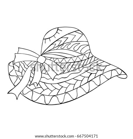 Hand Drawn Black And White Straw Hat Zentangle Cap For Coloring Book Page
