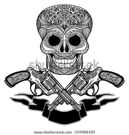Hand drawn  black  crossed guns with ornaments  ribbon and  skull on white  background   vector illustration  - stock vector
