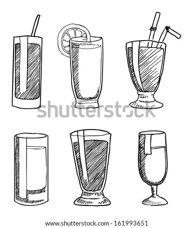 hand drawn black drinks & beverages icons set, vector illustration - stock vector