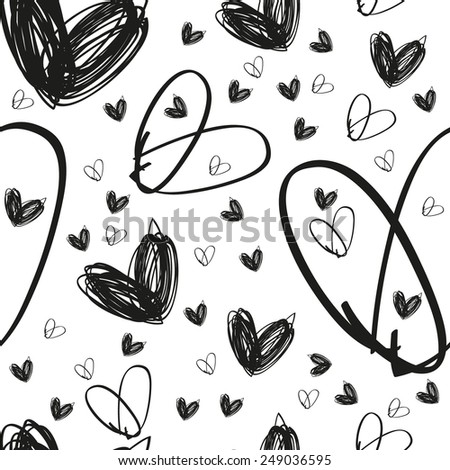 hand drawn black heart texture on white background, textile or packing paper, background for landing page or site, greetings card, doodle, sketch - stock vector