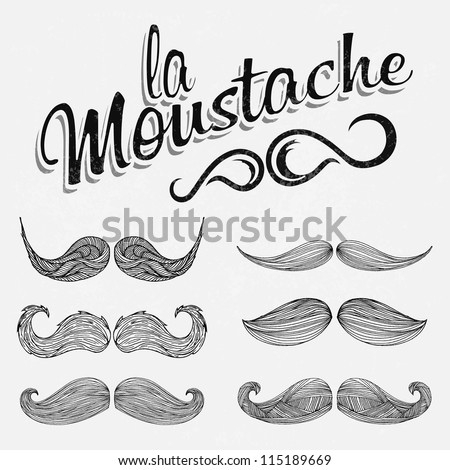 Hand Drawn Black Mustache Set - stock vector