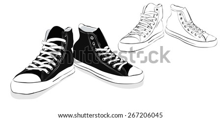 Hand drawn black sneakers isolated on white - sketch and colored - stock vector