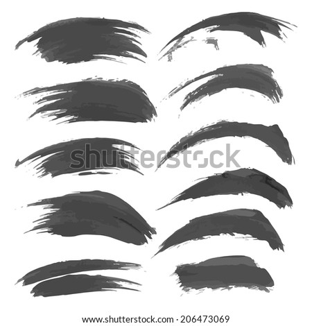 Hand drawn black strokes isolated on a white background 3