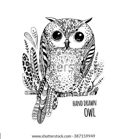 Hand drawn black white illustration owl fly bird. Art Coloring book owl . Cute sitting Owl black and white sketch with floral ornament . Bird owl. Boho owl. Tribal owl. Wallpaper owl. Illustration owl - stock vector