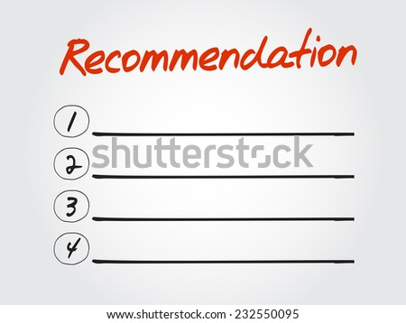 Hand drawn blank Recommendation list for diagram, chart shapes vector concept - stock vector