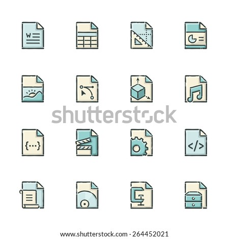 Hand drawn blue and beige file type icons. File format is EPS8. - stock vector