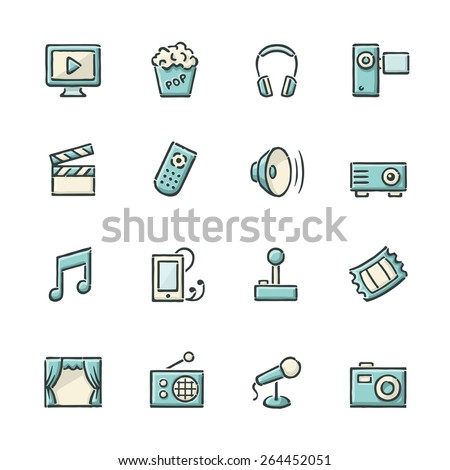 Hand drawn blue and beige movie, music, gaming and other entertainment icons. - stock vector