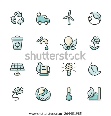 Hand drawn blue and beige renewable energy icons. File format is EPS8. - stock vector