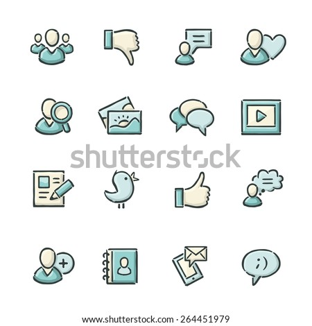 Hand drawn blue and beige social media icons. File format is EPS8.
