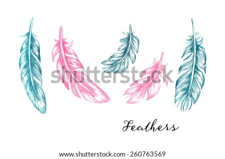Hand drawn blue and pink watercolor feathers set for your design - stock vector
