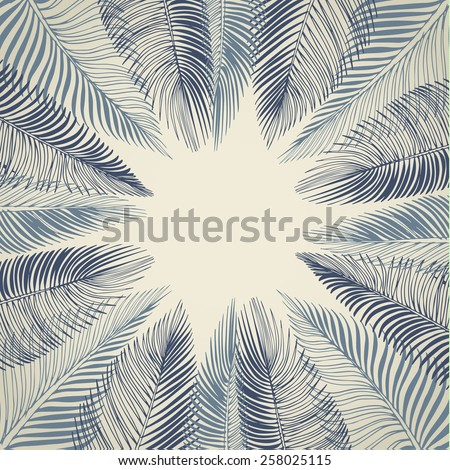 Hand drawn blue background of tropical palm leaves. Vector background. - stock vector