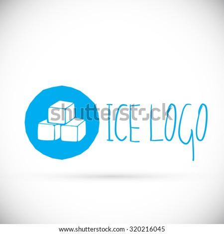Hand drawn blue ice cubes logo design icon, vector illustration.  - stock vector