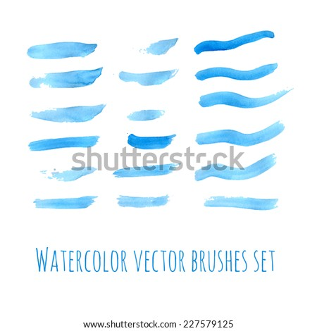 Hand drawn blue watercolor brushes set. Vector illustration. - stock vector