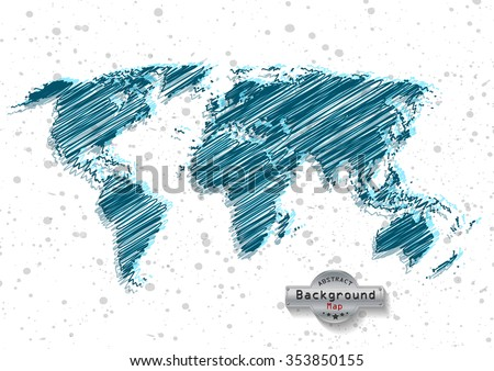 hand drawn blue world map on a white background. Vector EPS