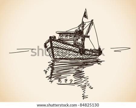 Hand drawn boat