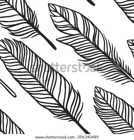 Hand drawn boho illustration feathers. Hand drawn seamless pattern with feathers. Hand drawn illustration Wicca attributes. Creative black contour art-work. Ink Illustration Feathers - stock vector
