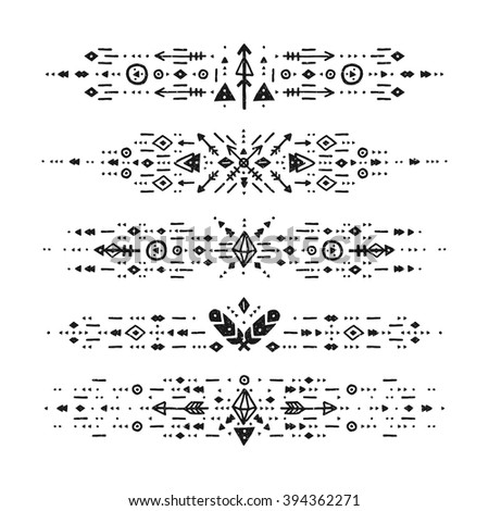 Hand drawn boho patterns with stroke, line, arrow, decorative elements, feathers, geometric symbols Aztec style. Flash Tattoo, tribal pattern, boho stroke