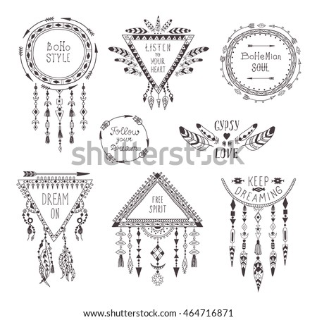 Hand Drawn Boho Style Frames and Decorations. Set of Fashion Ethnic Designs with motivate Slogan, Quotes for T-shirt, Tattoo and Card.
