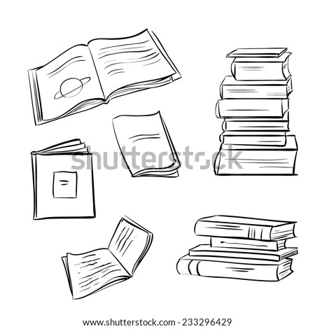 Hand drawn books set. Opened and closed books isolated on white background.  - stock vector