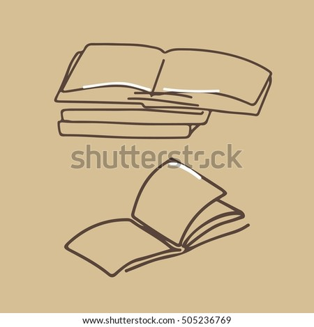 Hand drawn books. Vector illustration. Craft background.