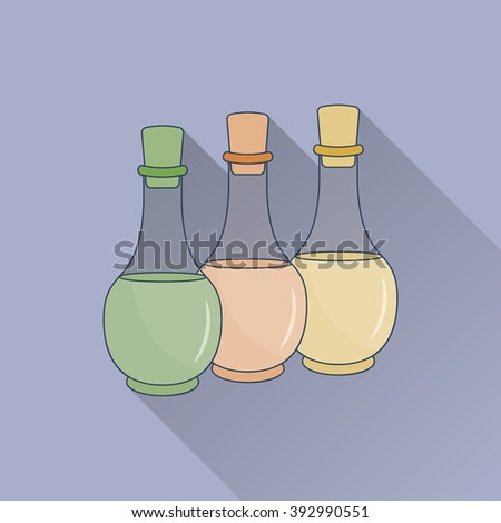 Hand drawn bottles of spa oils. Flat icon with long shadow. Concept for beauty salon, massage, cosmetic and spa. Isolated high quality vector graphic. Easy to use business template. - stock vector