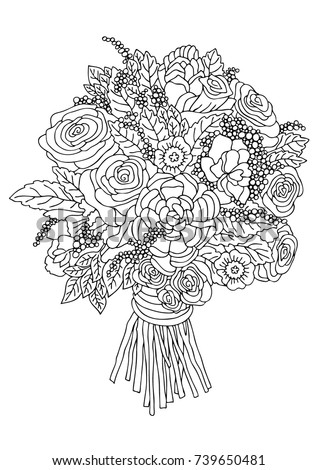 Hand Drawn Bouquet Sketch For Anti Stress Adult Coloring Book In Zen Tangle