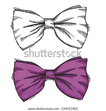 Hand drawn bow/Black and white and purple color/Vector illustration - stock vector