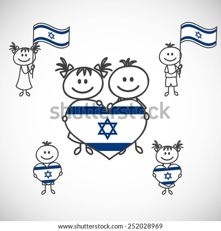 hand-drawn boy and girl holding flag on a white background, cartoon doodle. Israel - stock vector