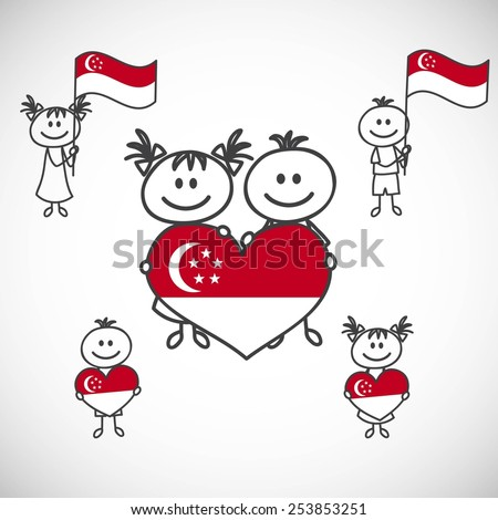 hand-drawn boy and girl holding flag on a white background, cartoon doodle.Singapore - stock vector