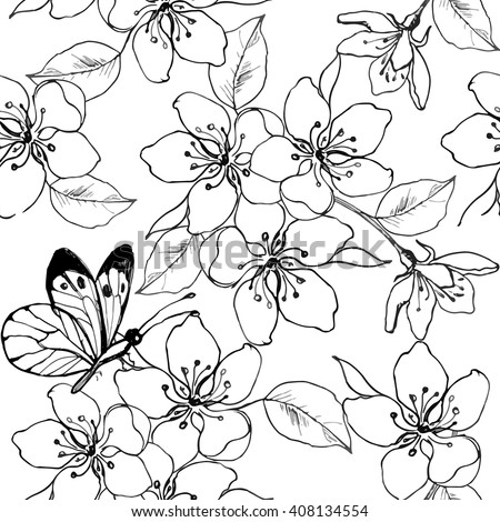 Hand drawn branch cherry blossom pear stock vector for Cherry blossom coloring pages