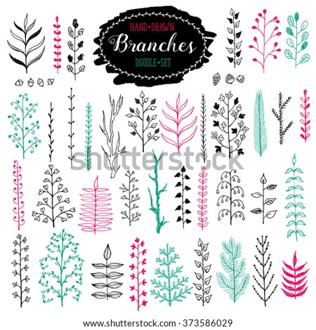 Hand drawn branches collection. Set of simple doodle branches isolated on white background. Vintage ink branches. Floral decorative elements for postcard and invitation design. - stock vector