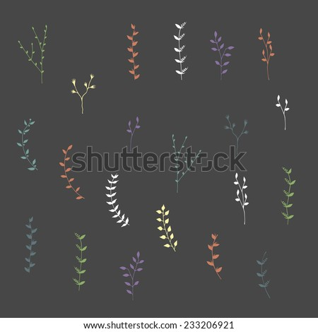 Hand-drawn branches graphic design elements set. Useful for wedding invitations, congratulations and greeting cards. - stock vector