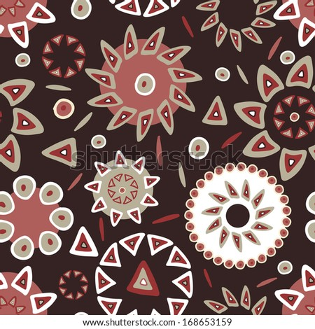 Hand drawn bright ethnic seamless pattern in terracotta tones. Abstract tribal endless background - stock vector