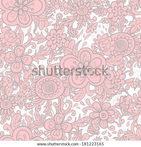 Hand drawn bright summer seamless pattern in pastel pink.  All objects are conveniently grouped on different layers and are easily editable - stock vector