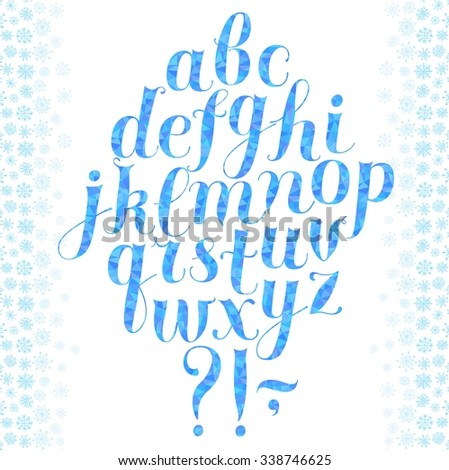 Hand drawn brush calligraphy vector ABC letters with triangle ice texture and snowflakes on background. Beautiful winter font for your design.