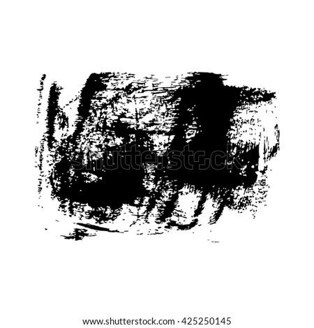 Hand drawn brush design element, black paint ink brush strokes. Grunge brush stroke. Dirty brush stroke. Artistic creative shape vector illustration.