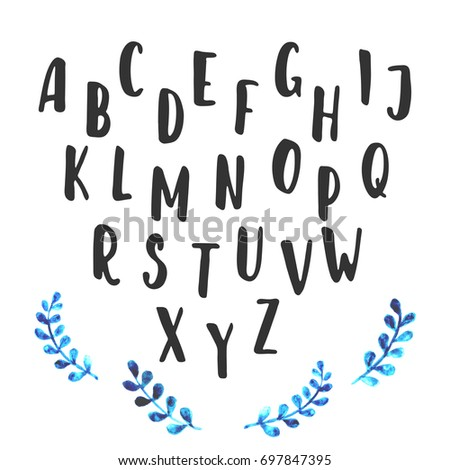 Hand painted ink alphabet, creative letters for your design.