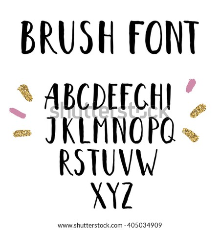 Hand drawn brush font. Uppercase hand painted ink alphabet, creative letters for your design. - stock vector